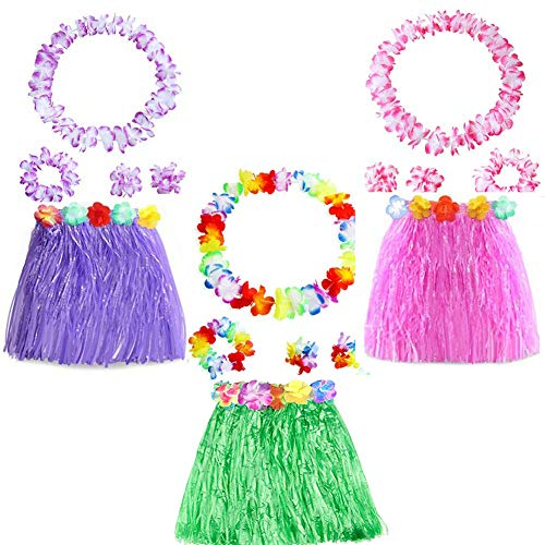 Yojoloin 15 Stücke Hawaiian Leis Luau Blumen Mit 6 Armbänder 3 Stirnbänder Und 3 Halsketten 3 Röcke Für Luau Hawaiian Party Dekorationen Liefert Photo Booth Requisiten. (15 STÜCKE)