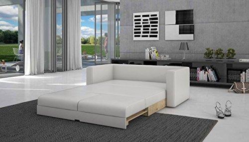 SalesFever Schlaf-Sofa mit Kunstleder in weiß 120x200 cm | Tonsbra 120 | Sofa-Garnitur mit Schlaffunktion | Couch ausziehbar für Wohnzimmer Weiss 120cm x 200cm