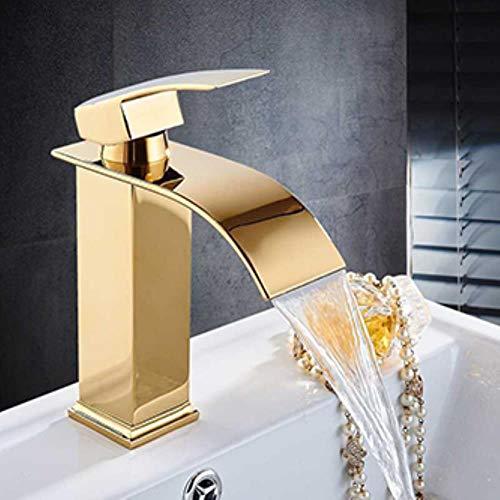 Onyzpily Bassin-Hahn-Badezimmer-Hahn-Wasser-Hahn gebürstetes Chrom Gold-Hahn-Einhand-Hot Cold Water Spülbatterie Mixer, Golden, USA