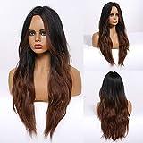 HAIRCUBE Pelucas de pelo largo para las mujeres ombre color negro a marrón oscuro sintético rizado peluca media partición