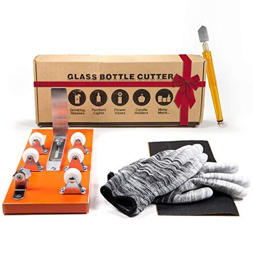 Home Pro Shop Bottle Cutter & Glass Cutter Kit- Wine Bottle Cutter DIY Tool- Glass Bottle Cutter Kit for Wine, Beer Bottles, Mason Jars - Bottle Cutting Kit w/Safety Gloves & Accessories