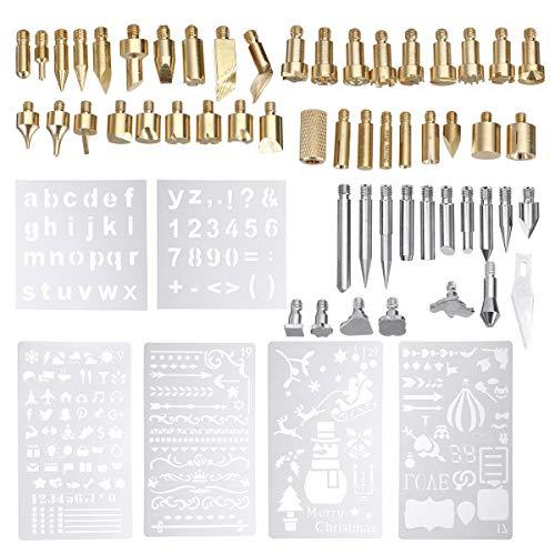 ExcLent 62Pcs 60W Elektro-Toller Iron Work Wood Burning Pen Tip Kit Pyrographie Tool
