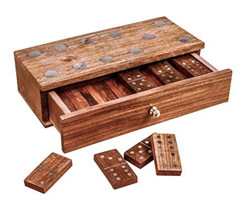 Winlay Handmade Sheesham Wood Dominoes Set | Double Six Professional Jumbo Size Brass Inlay Storage Box - Fun Game for Kids and Adults, Natural