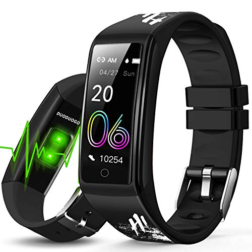 Orologio Fitness Smartwatch Uomo Donna, Smartwatch Orologio Fitness Tracker Cardiofrequenzimetro e Contapassi e Calorie da Polso Bluetooth Touch Conta Calorie Activity Tracker IP68 (nero)