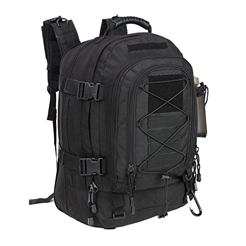 Black Military Expandable Travel Backpack Tactical Waterproof Work Backpack for Men(BLACK)