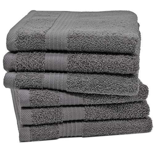 ZOLLNER 6er Set Handtücher aus 100% Baumwolle, 550 g/qm, ca. 50x70 cm, grau