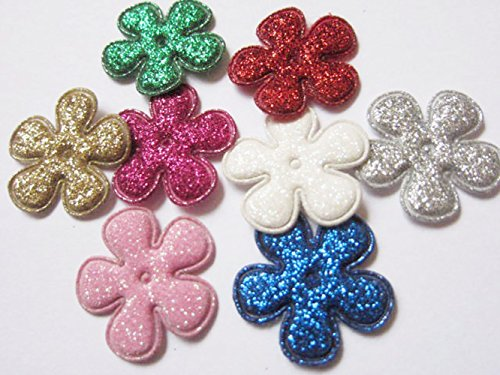 yycraft Pack de 80con purpurina 1'Flores acolchada Applique hair-8colores