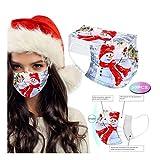 Snowdim 50 Stück Weihnachten Einweg Munds-chutz, 3 lagig Mund-Nasen-Schutz Bandana Staubdicht Atmungsaktiv Schals für Erwachsene (Schneemann| 50PC)