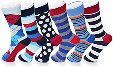 Alpine Swiss Mens Cotton 6 Pack Dress Socks Solid Ribbed Argyle Shoe Size 6-12 (One Size, Bright Pack)