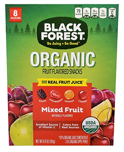 ORGANIC Fruit Flavored Snacks with Real Juice - Mix Fruit Natural Flavors, Grape, Strawberry, Orange, Cherry (8 Pouches of 0.81oz each) (181g / 6.4 oz total)