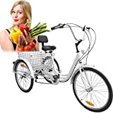 Iglobalbuy White 24-Inch 6-Speed Adult Tricycle Adjustable Trike...