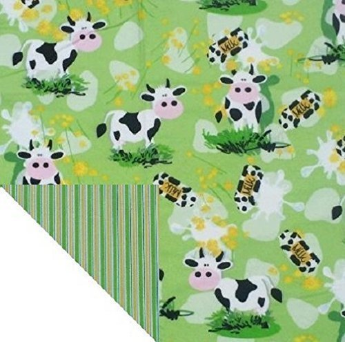 Kiddokins Cotton Cloth Napkin for Kids Lunchbox: Cows! Double Sided Cotton/Flannel Napkin