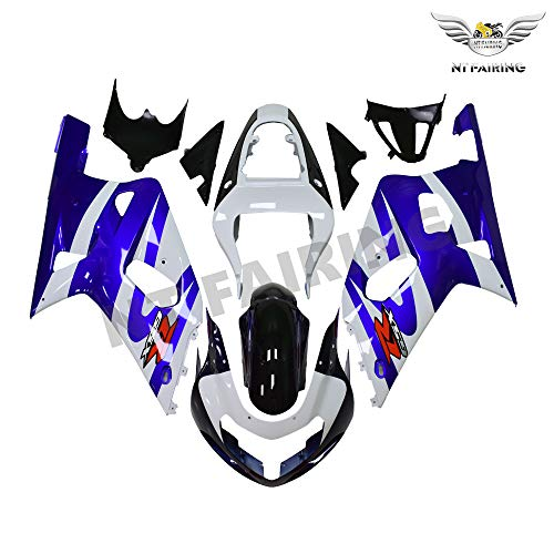 NT FAIRING Blue White Injection Mold Fairings Fit for Suzuki 2001 2002 2003 GSXR 600 750 GSX-R Aftermarket Painted Kit ABS Plastic Motorcycle Bodywork 01 02 03
