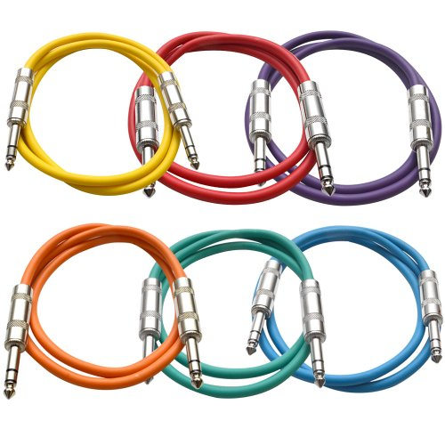 SEISMIC AUDIO - SATRX-3-6 Pack of Muliple Colored 3 1/4 TRS to 1/4 TRS Patch Cables