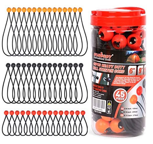 """HORUSDY 45 Pack Ball Bungee Cords, Includes 6"""", 9"""", 11"""" Heavy Duty Gazebo Tarp Tie Down Cord."""