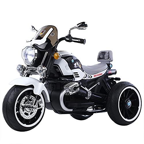 ZLH Niños Pedal Eléctrico Motocicleta, Duración De La Batería De 6V Paseo En El Juguete con Los Faros del Cuerno De La Música Motorbike para Niñas Boy 3-6 Años,Blanco