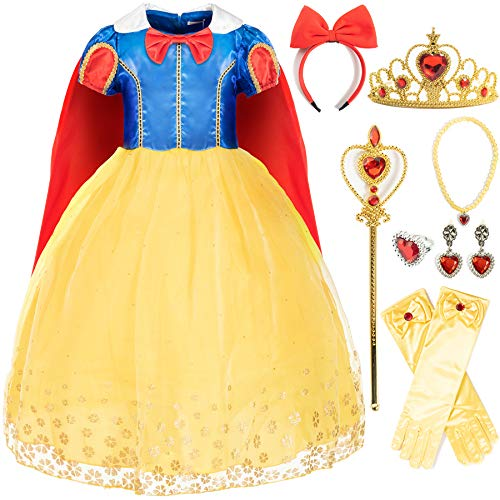 FUNNA Costume Princess Dress for Toddler Girls with Accessories, 3-4T Yellow