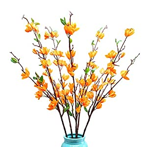 YIREAUD Artificial Orchids Flowers,37in Long Winter Jasmine Artificial Flowers Fake Flower for Wedding Home Party Hotel Patio Or Yard Decoration-4pcs