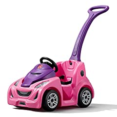 Turn heads left and right as you and your mini driver cruise around town in this sleek and stylish kids' ride-on toy. Realistic car decals and molded-in detailing make this kids' car look just like a real sports car! Push the toddler car with the inc...