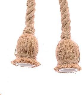 yyuezhi Lámpara de Cáñamo Lámpara Cuerda Vintage Rústico la Decoración de Comedor Restaurante Luz Cuerda Colgante Lámpara Retro Estilo Campo Decoración 220 V E27 no Incluyen Bombillas 2 Piezas
