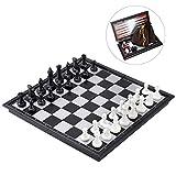 LQH Ajedrez Damas y Backgammon 3 en 1 Plegable magnético Ajedrez Damas Backgammon Set 9,8 Pulgadas de Viaje de ajedrez Juego de Mesa magnética Palabra de Ajedrez for Niños Adultos Juego