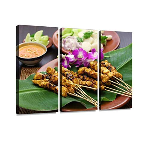 BELISIIS Chicken satay with Peanut Sauce Indonesian Skewer Cuisine Stockbeeld Wall Artwork Exclusive Photography Vintage Paintings Print on Canvas Home Decor Wall Art 3 Panels Framed Ready to Hang