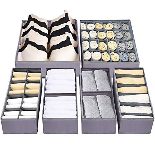 Dresser Drawer Underwear Organizer - Large Drawer Organizer Closet Divider Washable Clothes Bra Sock Tie Foldable Storage Box Drawer Polyester Fabric Baby Cloth Panties Belts Set of 6,Gray