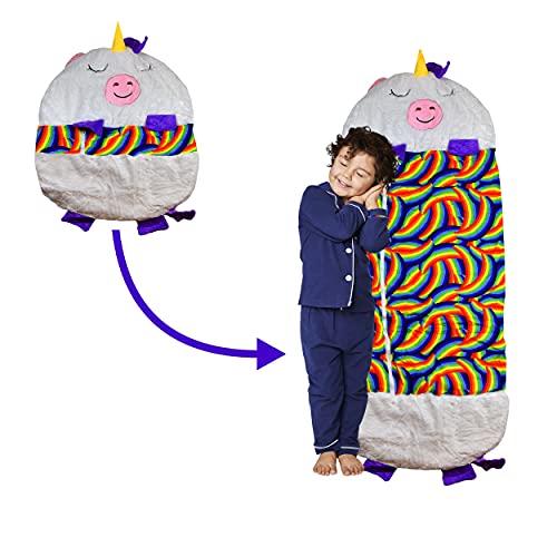 2-in-1 Kuscheltier Schlafsack Einhorn, zusammenfaltbarer Tierschlafsack mit Kissen für Kinder, weiches Material & waschmaschinenfest, Plüschtier, Geschenk für Jungen und Mädchen, 160 x 62 cm, weiß