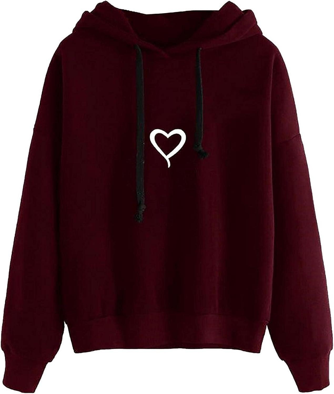 Toeava Hoodies for Women, Women's Casual Heart Print Plain Drawstring Pullover Hooded Blouse Long Sleeve Sweatshirt Top