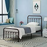 Metal Bed Frame Twin Size with Headboard and Footboard Mattress Foundation Box Spring Replacement Steel Slat Support,Antique Brown