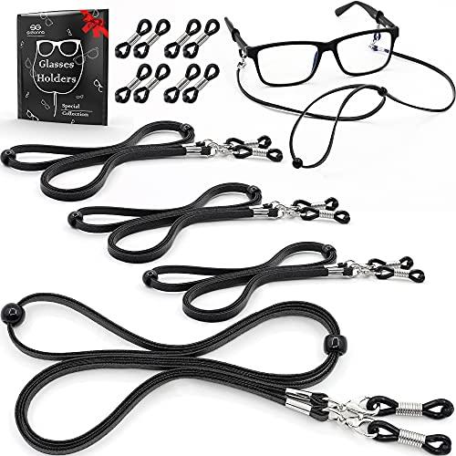 Eyeglass Strap Holders - Premium ECO Leather Eye Glass String Strap - Eyeglass Chain for Women Men - Eye Glass Accessory Chain Around Neck - 4 Cords (Black)