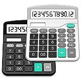 SPLAKS Taschenrechner 2 Pack 12-stellig Standard Funktion Tischrechner Bürorechner Rechenmaschine Solar- und AA Batterie betrieb Calculator mit großem Display (Schwarz + Silber)