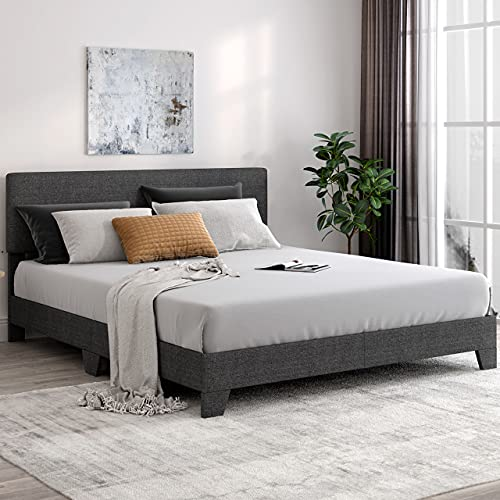 SHA CERLIN King Size Platform Bed Frame with Headboard and Wood Slats, Fabric Upholstered Mattress Foundation with Metal Legs, No Box Spring Needed, Black