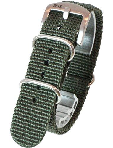 『【 気分に合わせて簡単交換 】 (カーキ 20mm 厚み1.8mm) NATOタイプ ナイロン ベルト ストラップ 腕時計 2PiS 【 交換マニュアル付 】』の1枚目の画像