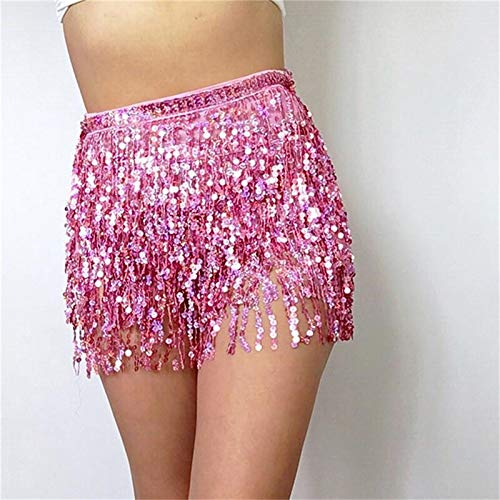 ChenTAOCS Sparkling niet duur Belly Dance Hip Scarf Shawl Pailletten Frings Taille Ketting Gouden Royal Blauw Roze Violet Eenvoudig te gebruiken