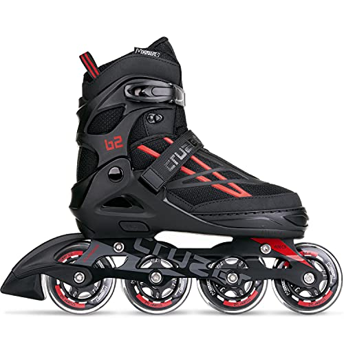 Movino Inline Skates | Cruzer B2 | Verstellbare Rollschuhe | Inline-Skates | ABEC9-Lager | große Räder 80 mm | Dreistufiges Befestigungssystem: Schnalle, Schnürsenkel und Gürtel
