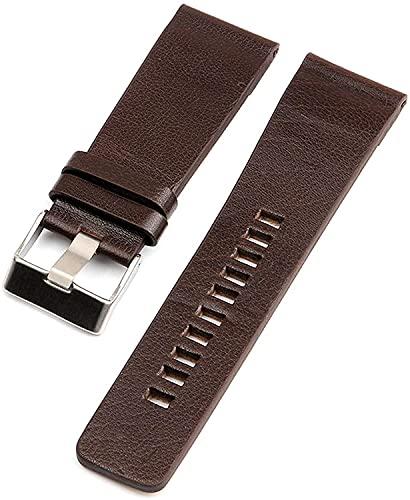 PINGZG Reloj de Cuero Genuino Bandas de Relojes de muñeca para Hombres 26mm / 27mm / 28mm / 30mm / 32mm / 34mm Watch Accesorios, cómodo Transpirable (Color : Brown, Size : 34mm)