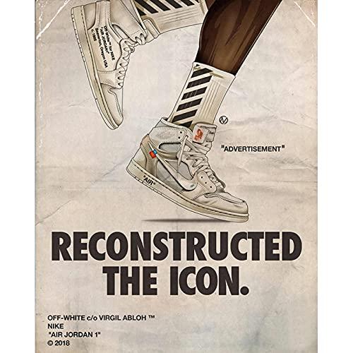 Dabbledown Cuadro de Lienzo Zapatillas de Deporte de colaboración de Travis Scott, Carteles e Impresiones, Cuadro artístico de Pared, decoración del hogar 60X90CM