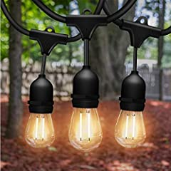 💡 BEST QUALITY AND SHATTERPROOF LED LIGHG BULBS: Our 48Ft Commercial Lights for patio is crafted with heavy-duty weatherTite technology + SHATTERPROOF PLASTIC 15 hanging LED bulbs that easily customize, to add more bulbs. The greater choice for outdo...