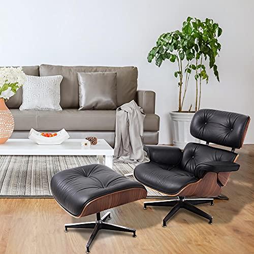 Recliner mit Osmanen, Midmany Mid Century Modern Stuhl, 360 ° rotierender Aluminiumbasis und 8-Lagen-Walnussholz-moderner Liegestühler, Lounge-Stuhl Wohnzimmer 303