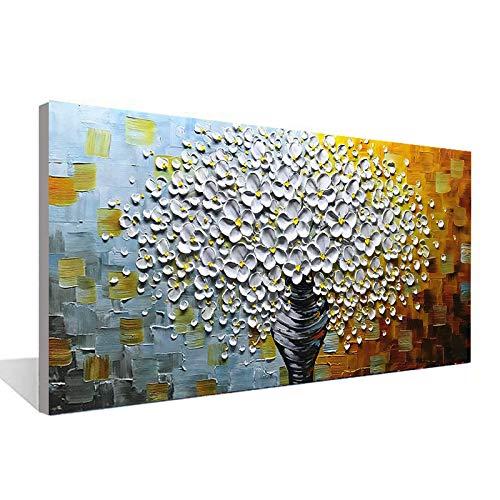 WSNDGWS Jarrón de Flores Blancas Dibujado a Mano Pintura al óleo Lienzo Pintura Pared Pintura Sala Comedor Dormitorio Pintura Decorativa 12X24 Pulgadas (40X80 cm)