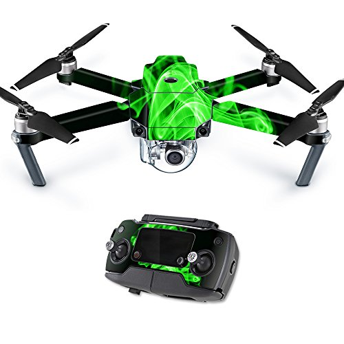 MightySkins Skin Compatible with DJI Mavic Pro Quadcopter Drone - Green Flames | Protective, Durable, and Unique Vinyl Decal wrap Cover | Easy to Apply, Remove, and Change Styles | Made in The USA