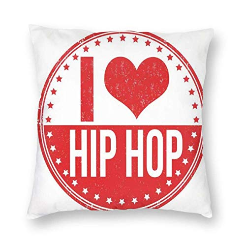QUEMIN Set I Love Hip Hop Phrase On A Circular Grungy Background with Star Shapes 18 x 18 Inches Cushion Case Luxury European Throw Pillow Cover Decorative Pillow for Couch Living Room Bedroom Car