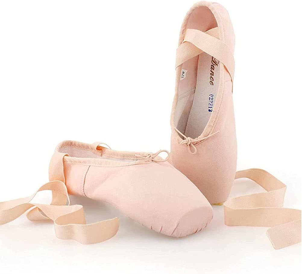 Ballet Pointe Shoes,Professional Canvas Dance Shoes for Girls Wo