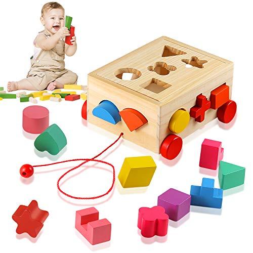 Ulikey Steckwürfel aus Holz, Würfel Puzzle Steckbox Montessori Lernspielzeug, Sortier Stapel Steckspielzeug...