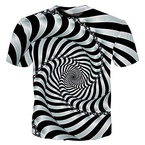 Männer S Dizzy Eyes 3D T-Shirt Lustiges Vertigo Hypnotisches T-Shirt Sommer Unisex Dünne 3D-Druckoberteile Hip Hop Streetwear Paisley T-Shirt-XXXXL