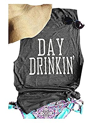 HDLTE Day Drinking Tank for Women Funny Letters Print Casual T-Shirt