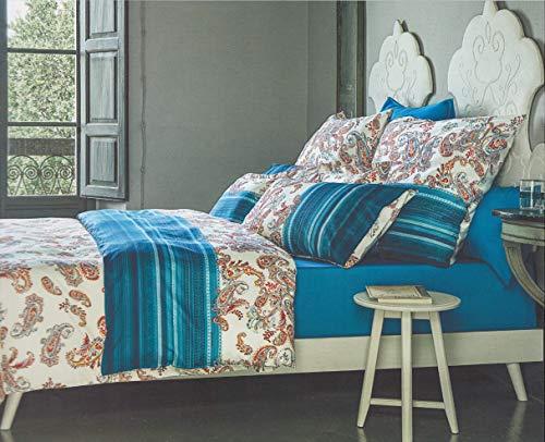 Bassetti Granfoulard - Juego de sábanas para cama de matrimonio de 2 plazas, 100% puro algodón - Encimera + bajera con esquinas Maxi + fundas de almohada tipo saco (Tosca B1)