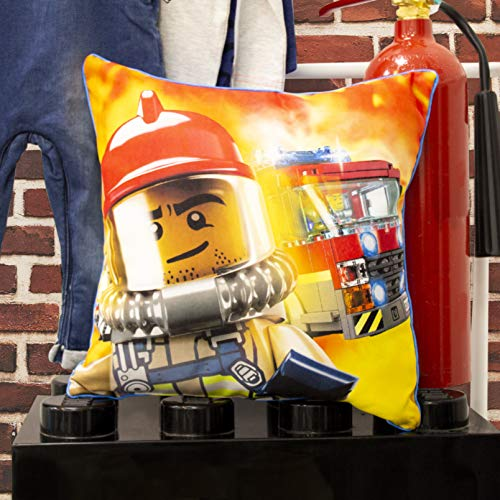 LEGO City Square Cushion Pillow | Action Firefighter & Pilot Inc | Officially Licensed Reversible Two Sided Design