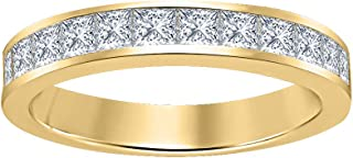 Princess Cut Gemstone Half Eternity 14k Yellow Gold Plated 925 Sterling Silver Wedding Band Ring for Men's